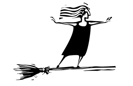 Woodcut style expressionistic witch on a broom Illustration