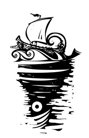 Woodcut image of the sea monster Charybdis and Odysseus ship