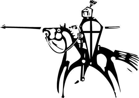 Chevalier de gravure sur bois expressionniste avec cheval et lance