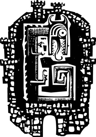 Woodcut style expressionist image of a dragon in a walled castle