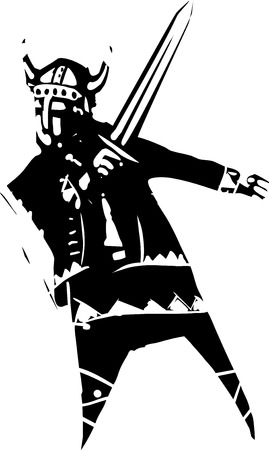 Woodcut style expressionist image of a Viking with a sword Ilustrace