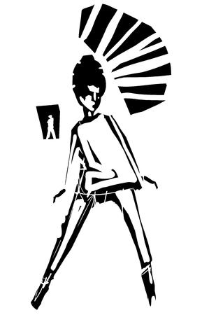 Imagen expresionista de estilo de grabado de una chica mod de los años sesenta con un peinado de colmena bailando