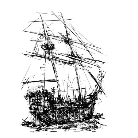 Sketchy style sailing pirate ship at sea