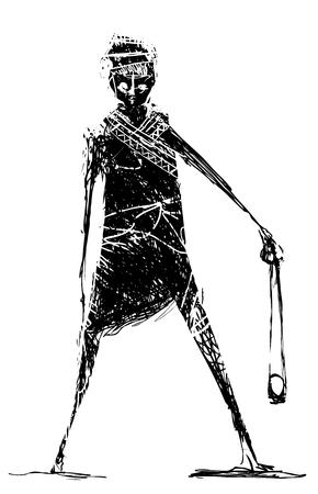 Shepherd boy or biblical David with stone sling