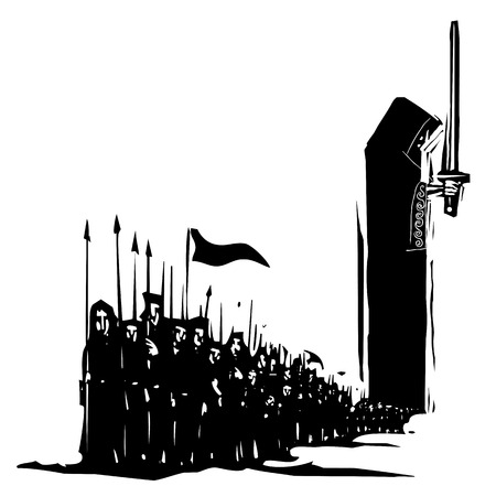 Woodcut expressionist image of a dark army emerging from a kings cloak 写真素材 - 124834351