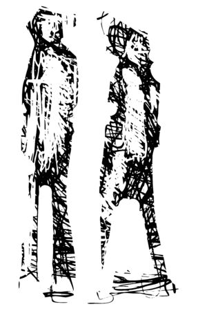 Expressionistic style Couple made of energetic lines Walking together