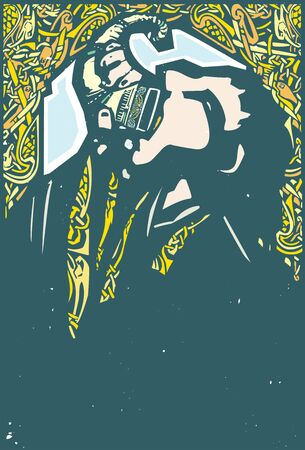 Woodcut style Expressionistic image of a viking drinking from a drinking horn