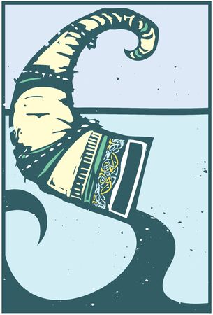Woodcut style Expressionistic image of a viking drinking horn with zoomorphic elements Banque d'images - 139369859
