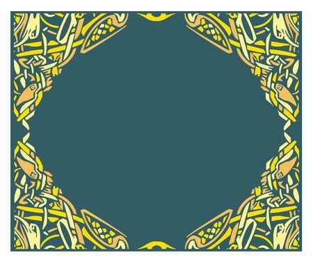 Woodcut style viking or celtic zoomorphic knotted border.
