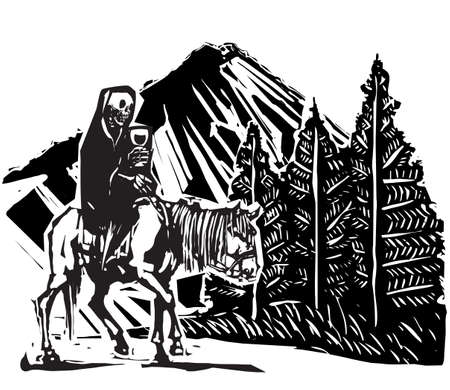 Woodcut Death riding a horse on Mountain Path