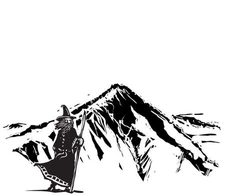 Woodcut style Wizard Snow on covered Mountain