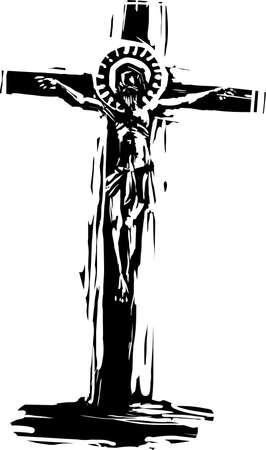 Woodcut expressionist style image of Jesus christ on the cross with a covid halo.