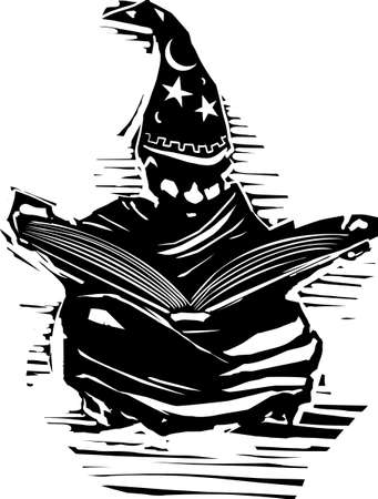 Woodcut expressionist style image of a young african american wizard studying a spellbook.