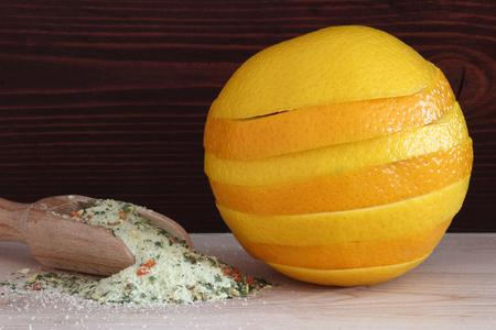 juicy: Sweet and juicy orange lies about salt Stock Photo