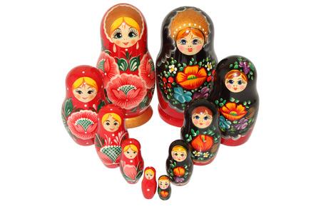 matreshka: beautiful Russian matreshka doll on white background