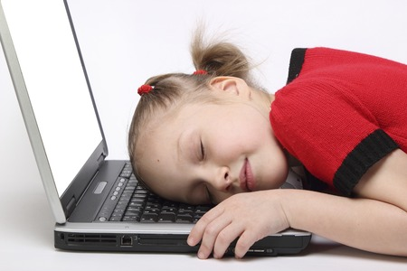 worked: girl worked on my laptop and fell asleep. white background