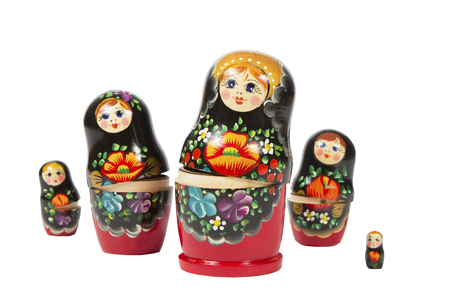Russian nesting doll on white background. bright matreshka Stock Photo