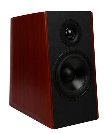 wooden multimedia speaker system isolated on white background