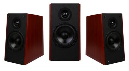 three wooden multimedia speaker system with different speakers
