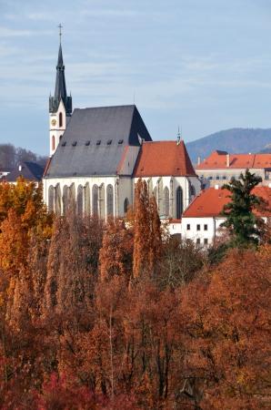 Tower  Village of Cesky Krumlov in Czech Republic  Autumn 2012