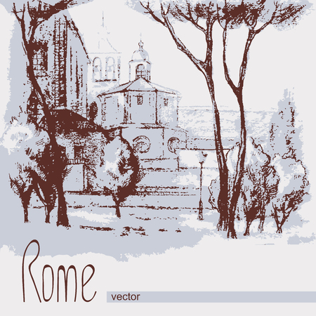 duotone: Graphic illustration of Rome. Italy. Poster Design. Two-color pencil, sepia. Duotone