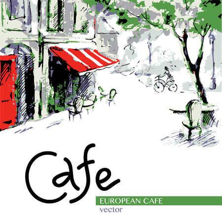 European cafe, graphic drawing in color. Postcard. French outdoor european cafe painting Illusztráció