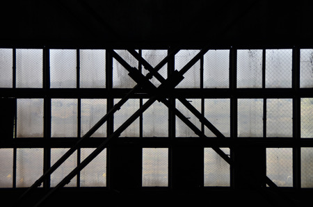 Silhouette of the old windows at the factory.