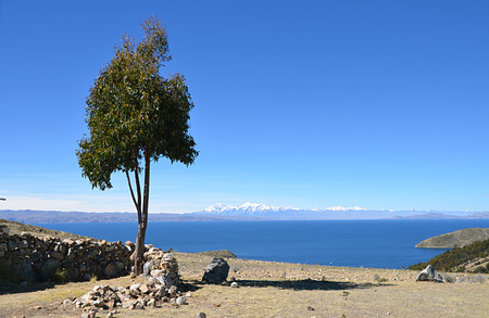 View of Lake Titicaca. Rocky cliff. Landscape