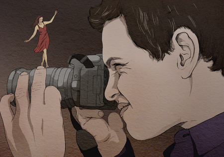 see: Photographer looking at the camera, original drawing. Graphic drawing in color. The Concept. Stock Photo