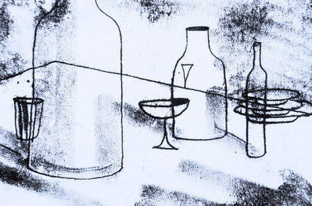 The original drawing. Abstract graphics with the table, bottles, glasses, plates. The clear contours of objects. Abstract background, the stamp Stock fotó