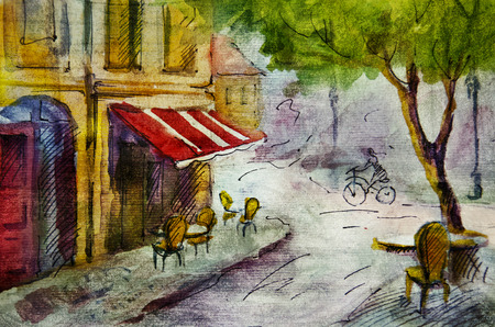 french culture: European cafe, graphic drawing in color. French outdoor european cafe painting, graphic drawing in color