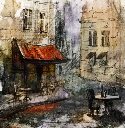 European cafe, graphic drawing in color. French outdoor european cafe painting, graphic drawing in color