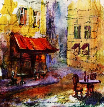 reise retro: Europäische Café, Grafik, Zeichnung in Farbe. Französisch Außen European Cafe Malerei, Grafik, Zeichnung in Farbe