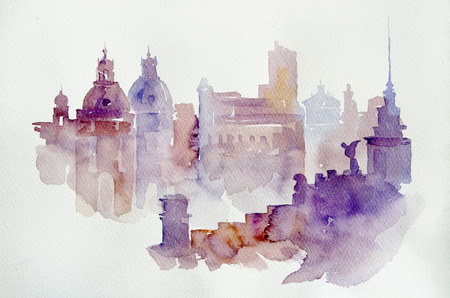 Watercolor illustration European view. Vintage postcard with European view. Italy Rome. View of the area. Watercolor illustration. Stock fotó