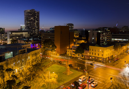 Night view of Melbourne city. Australia