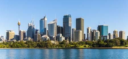 Sydney panoramic view. Australia, July. Skyscrapers reflected in the water