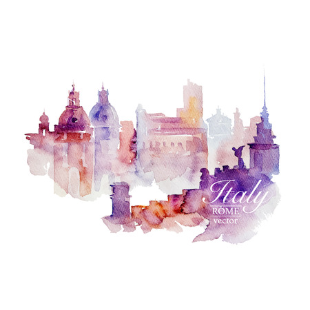 Watercolor Italy Rome on white background. Drawn handmade.