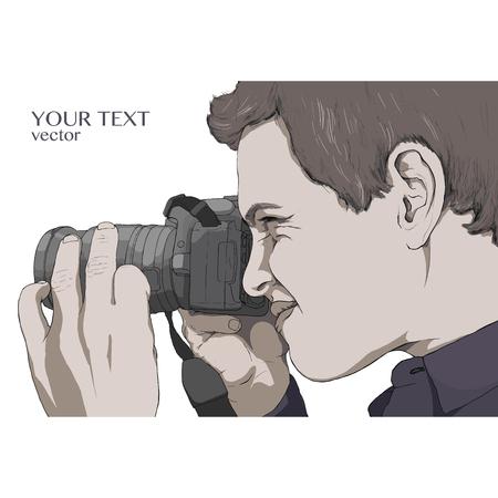 The photographer looks into the camera lens. Vector illustration. Gray color. Illusztráció