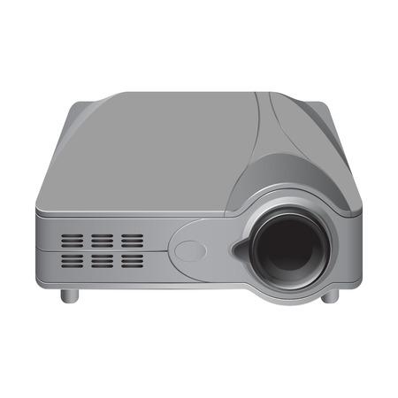 Realistic multimedia grey projector. Illustration on white background. Illusztráció