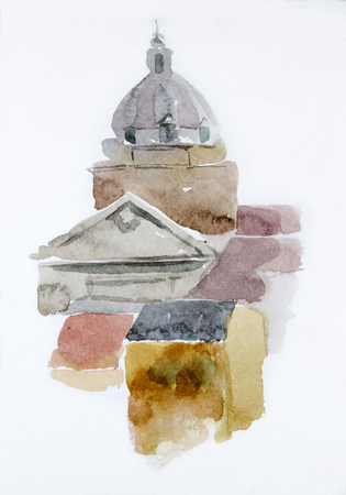 Watercolor illustration. European House. Facade wall texture. The dome of the cathedral. Card