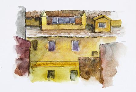 European House. Watercolor illustration. Facade wall texture.