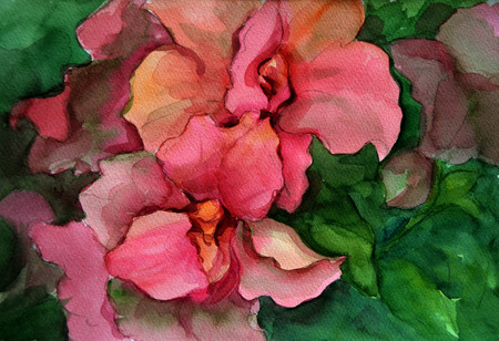 Handpaint watercolor illustration. Red flowers in green leaves. The original hand drawing. Stock fotó