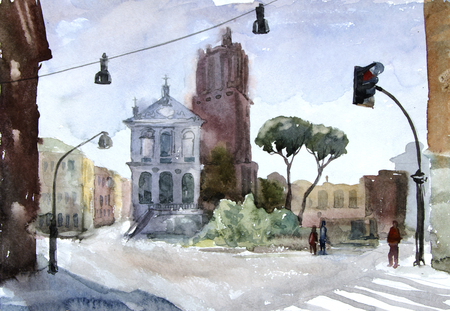 Watercolor illustration. European vew. Street in Rome. Graphic drawing in color