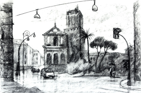 Watercolor illustration. European vew. Street in Rome. Graphic drawing