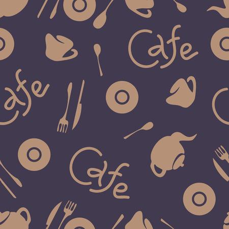 Seamless pattern. Cafe stylish background. Vector repeating texture. Logo Illusztráció