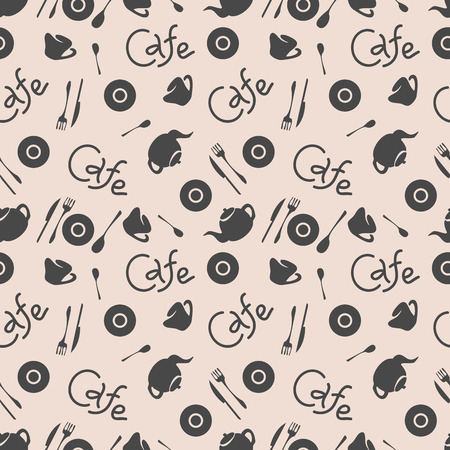 Seamless pattern. Cafe stylish background. Vector repeating texture.