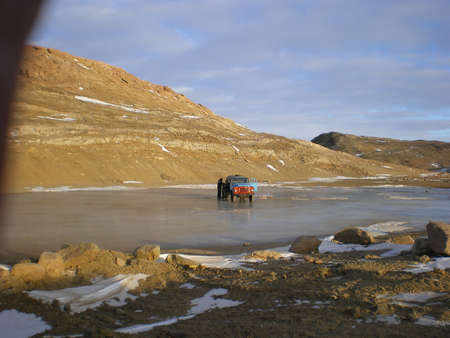 truck on the ice of the Gulf of Antarctica