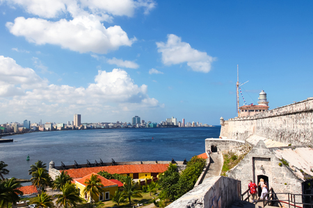 Havana / Cuba - August 15 2015: The 12 Apostles Defense Battery, in Havana Bay entrance. Outdoors, blue sea and bright blue sky Stock Photo