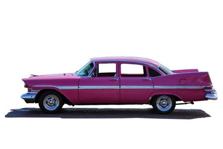 Modelo clásico Cadillac Fury rosa de protección lateral, aislar con una sombra debajo del automóvil