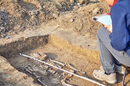 Real archaeological excavation. Archaeologist draws the tomb with human bones, part of skeleton and skull in the ground. Outdoors, copy space, close up. Reklamní fotografie